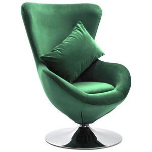 Neu Möbel- Drehstuhl in Ei-Form Relaxsessel,Fernsehsessel Clubsessel für Esszimmer mit Kissen Dunkelgrün SamtMöbel,Stühle,Sessel🐳