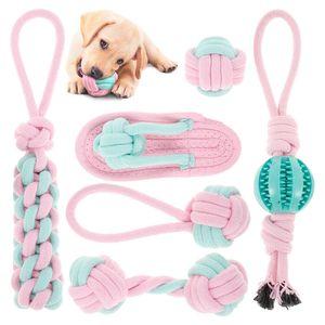 Melario 6x Hunde Spielzeug Set Kauspielzeug aus Seil Interaktives Pet Dog Welpen