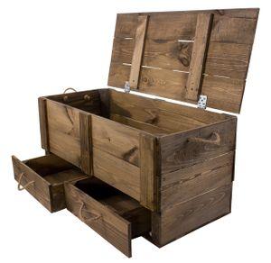 1x Schickes Wohnzimmermöbel in Form einer großen Holztruhe mit 2 Schubladen im Used Look für uriges Wohnen, neu, 85,5x42x43,5cm