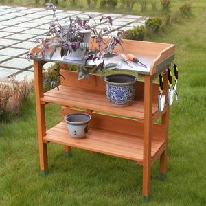 COSTWAY Pflanztisch Holz Zinkplatte Gärtnertisch Arbeitsplatte Gartentisch mit Ablage und Haken, Holzpflanztisch Pflanzregal für Garten Balkon 77x37x89cm