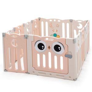 Baby-Laufgitter mit Tür und Spielzeugboard, Laufstall, Krabbelgitter, 12 Paneele, frei kombinierbar, Absperrgitter aus HDPE, für indoor und outdoor (Weiss & Rosa)
