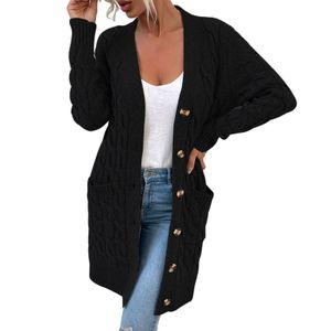 Damen Langarm Button Down Solide Offene Front Pullover Strick Strickjacken Oberbekleidung - Schwarz XL Farbe Schwarz XL
