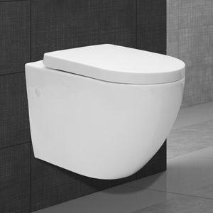 ECD Germany Hochwertiges Spülrandloses Hänge WC lang Weiß, Toilette aus Keramik mit Antibakterieller Oberfläche, Abnehmbarer WC Sitz aus Duroplast mit Absenkautomatik Softclose, Wand-WC Tiefspül-WC