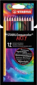 Aquarell-Buntstift - STABILO aquacolor - ARTY - 12er Pack - mit 12 verschiedenen Farben