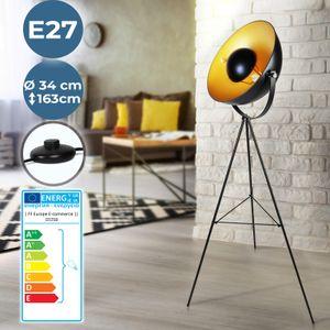 Jago® Stehleuchte mit Stativ - EEK A++ bis E, LED, Höhe 163 cm, schwenkbar, 60 W, E27, Schwarz-Gold - Tripod Stehlampe, Standleuchte, Fußbodenlampe im Retro Vintage Design für Wohnzimmer, Schlafzimmer