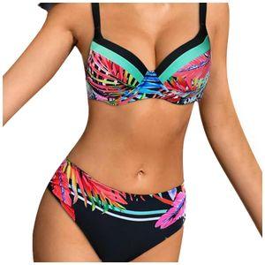 Women's Solid Color Straps Bikini Double Strap High Waist Split Swimsuit Größe:XL,Farbe:Bunt