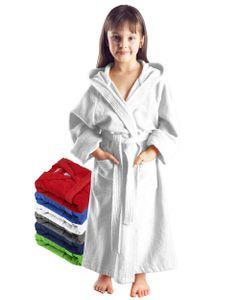 Arus Bademantel mit Kapuze für Kinder, Farbe:Weiß, Größe:176