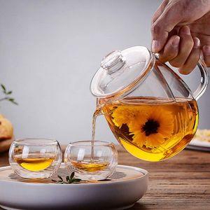 Klar Glas Teekanne Wasserkocher Tee Topf mit Abnehmbare Tee Sieb Herd Sicher Benutzerdefiniert Glasteekanne 550 ml