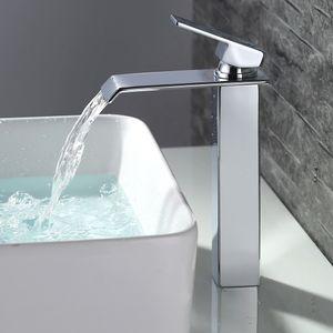 Badarmatur wasserfall Wasserhahn Bad hoch Waschtischarmatur Waschbeckenarmatur Messing Chrom Einhandmischer Mischbatterie Bad