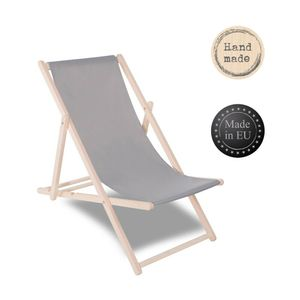 Liegestuhl Sonnenliege Campingstuhl Gartenliege Holz Liege klappbar verstellbar - Grau