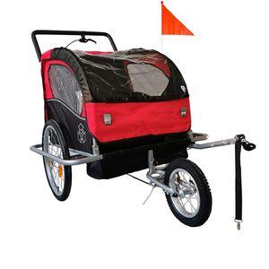 ecoMI -  2 in1 Fahrradanhänger 2 Kinder Anhänger Kinderanhänger Jogger Kinderfahrradanhänger Radanhänger - Rot