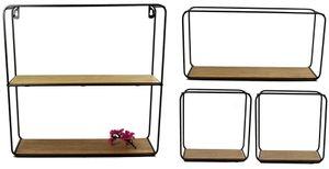 4er Set Metall Wandregal mit Holzboden in 3 Größen