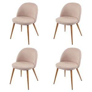 4x Esszimmerstuhl HWC-D53, Stuhl Küchenstuhl, Retro 50er Jahre Design, Stoff/Textil  beige