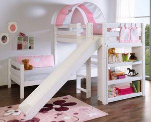Etagenbett mit Rutsche BENI L Kinderbett Spielbett Bett Weiß Stoff Rosa/Weiß