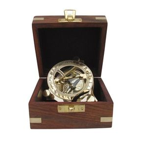 Sundial Kompass, Sonnenuhr- Kompass in Edelholzbox, Messing poliert