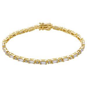 Xenox Damen 925 Sterling Silber Tennisarmband mit Zirkonia in goldfarben - GLOW - XS2046GL