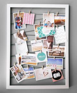 Fotohalter auf Gummileine mit 20 Clips 55x75 cm - Farbe: weiß