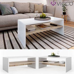 Vicco Couchtisch Weiß Sonoma Eiche Wohnzimmer Sofatisch Kaffeetisch Tisch