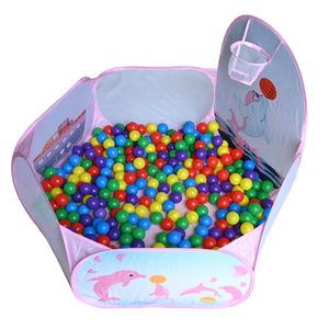 Kinder Bällebad, Pop Up Baby Kugelbad Outdoor mit Mini Basketballkorb Bällepool Bällebecken Spielbälle Kugelbad Bällchenbad Spielbecken für drinnen und draußen 120cm inch - Pink