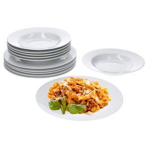 Van Well Trend 24-tlg. Tafelservice weiß für 12 Personen, Speiseteller + Suppenteller