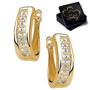 Damen Klapp Creolen aus 925 Sterling Silber Gold mit Zirkonia Frauen Ohrringe K838+V11