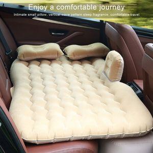 12V PVC Beflockung Aufblasbar Luftmatratze Auto Luftbett + Luftpumpe Block Round mit Kissen f Reise Camping