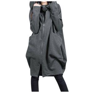 Frauen Full Zip Hoodie Damen Long Cardigan Hooded Cardigan Jacke Mantel Top Kleid Größe:M,Farbe:Grau