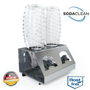 SodaClean® Premium 2er Flaschenhalter mit Abtropfwanne - für SodaStream Duo Crystal Flaschen | aus hochwertigem Edelstahl - Abtropfhalter Abtropfständer inkl. Deckelhalterung | Easy,Fuse,Power,Emil UVM.