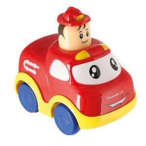 Bieco Drück & Los Flitzer Feuerwehr | Spielzeug Auto mit Aufzieh Mechanismus durch Kopf Herunterdrücken | Rückzug Spielzeugautos ab 6 Monaten | Baby und Kleinkind | Auto Baby 1 Jahr | Aufziehbar