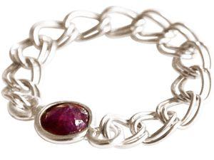 Damen Ring 925 Silber Rubin Rot Beweglich Geschmeidig