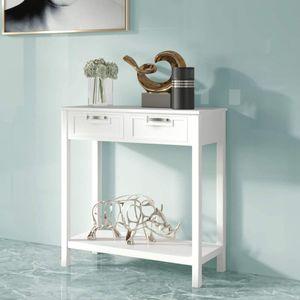 COSTWAY Konsolentisch mit Ablage und 2 Schubladen, Beistelltisch Industrie Design für Wohnzimmer, Flur, Flurtisch 100x30x80cm Weiß