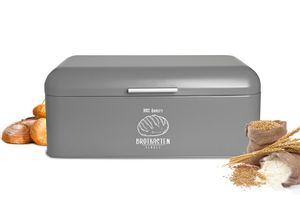 Großer Brotkasten aus Metall mit Klappdeckel im Retro Look  Rollbrotkasten Brotbehälter Brotbox Grau