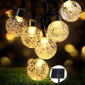 50er LED Kristallkugeln 8 Meter Solar Kupferdraht Lichterkette, Solar Lichterkette Außen, 8 Modi Wasserdicht Solarlichterkette