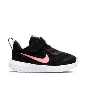 NIKE Kleinkinder Klett Sportschuh NIKE REVOLUTION 5 (TDV) schwarz pink, Größe:26