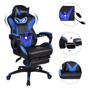 Puluomis Massage Gaming Stuhl Bürostuhl Racing Computerstuhl   höhenverstellbarer Stuhl mit Fußstütze  (Schwarz& Blau)