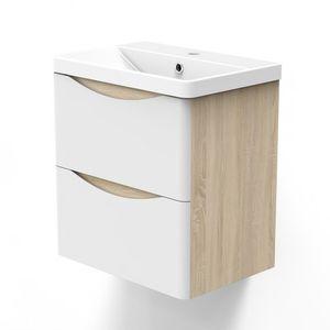 Badezimmer Badmöbel 50 cm Eiche Weiß Smiley - Badezimmermöbel Waschtisch mit Unterschrank Badezimmerschrank mit 2 Schubladen