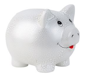 Riesen Mega Jumbo Sparschwein 31 cm x 25 cm weiss silber Keramik
