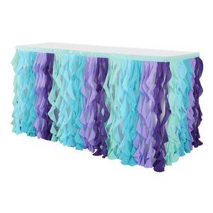 Chiffon Tuch Tisch Rock Tischwäsche Für Baby Shower Hochzeit Blau Tüll ohne 9 Fuß