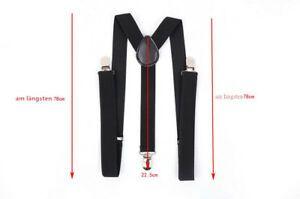 Hosenträger breit 3 Clips Y-Form elastisch verstellbar Herren Damen Unisex Leder