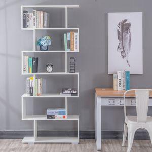 Bücherregal mit 6 Ebenen Weiß 80x23x193 cm Standregal Raumteiler Treppenregal Stufenregal Regal Aktenregal Raumtrenner Schrank Nachbildungegal Weiss