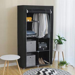 XL Kleiderschrank mit 2 Stangen Stoffschrank mit Tür 170 x 88 x 45 cm Faltschrank aus Vlies Gewebe SONGMICS schwarz RYG84H