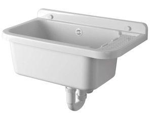 Hänge-Ausgussbecken Becken tief mit Ablagefläche Abtropffläche 60 x 34 Waschtrog Spülbecken weiß Kunststoff