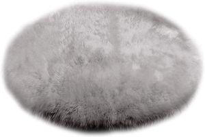 WOLTU TP3520hgr Faux Lammfell Schaffell Teppich, Longhair Fell Optik, Wolle Sofa Matte Bettvorleger, DIA90, Hellgrau
