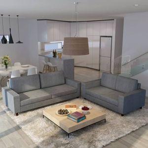 2-tlg. Stoff Sofagarnitur, Gepolstertes Sofa, 2-Sitzer Sofa und 3-Sitzer Sofa, für 5 Personen, Wohnzimmermöbel, Hellgrau