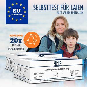 20x  Schnelltest, Covid Selbsttest, EU produziert, ab 11 Jahren, Antigen Test () Nasal - Test mit Nasenabstrich zur Eigen- und Heimanwendung, Set mit vollständigem Zubehör & Anleitung, EN ISO zertifiziert