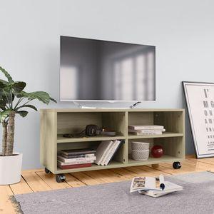 TV-Schrank mit Rollen Sonoma-Eiche 90×35×35 cm Spanplatte
