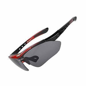 ROCKBROS Fahrradbrille Polarisiert Brille UV400 Schwarz Rot