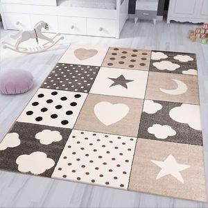 Kinderteppich kinderzimmer Teppich Babyteppich mit Herz Stern Wolke Flauschig Beige, Maße:80x150 cm