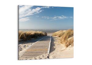 "Leinwandbild - 70x70 cm - ""Hinter der Düne, im Rascheln des Grases""- Wandbilder - Meer Strand Düne - Arttor - AC70x70-2657"