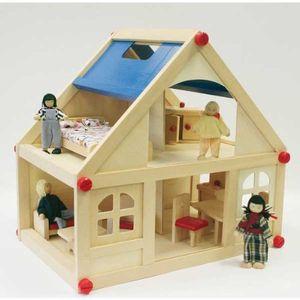 Holz Puppenhaus-Set 36,5x39x25cm inkl. Zubehör
